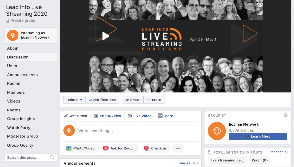 Leap Into Live Streaming Facebook Group