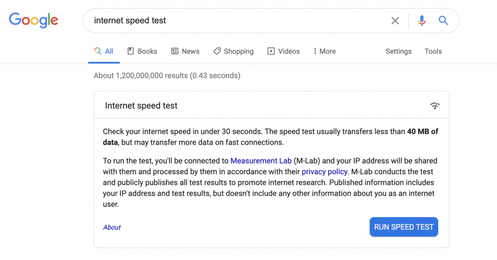 Internet speed test for live streaming