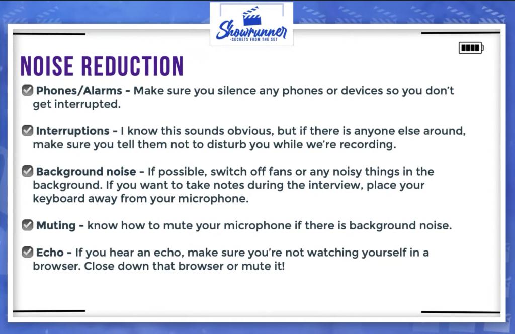noise reduction checklist