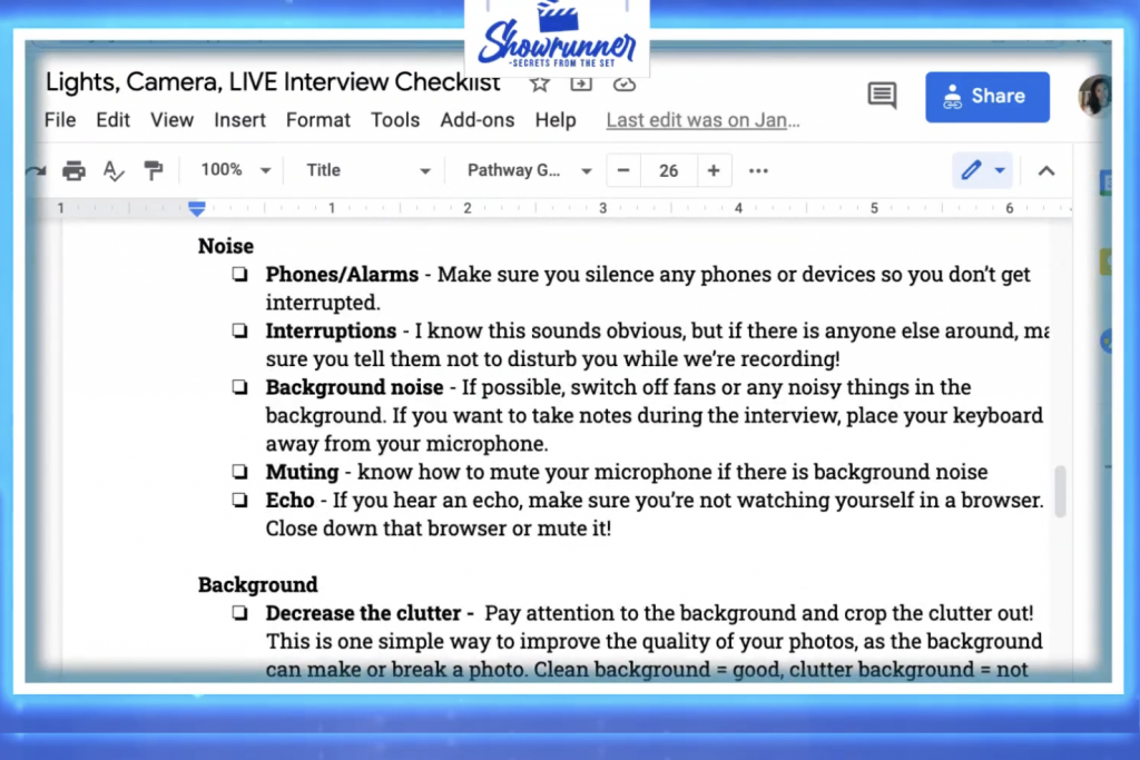 Live streaming checklist template