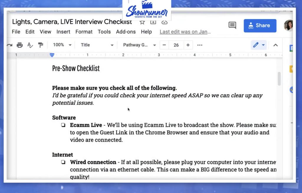 pre-show checklist